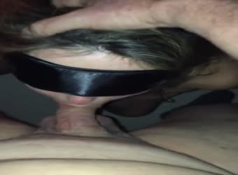 GF clamped cuffed and worships his dick