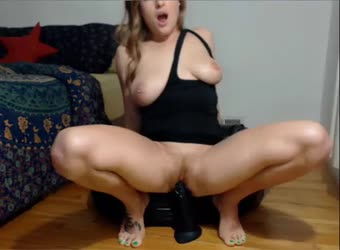 Hot chick squirts with big black dildo