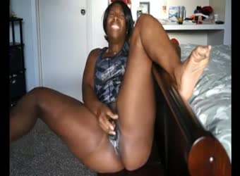 Big black girl has a squirting solo orgasm