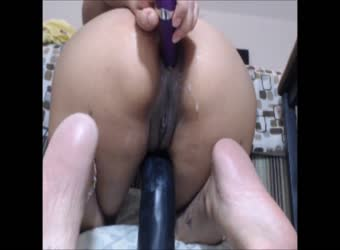 Big black dildo with anal vibrator