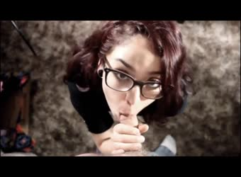Brunette girlfriend in glasses blowjob and creampie