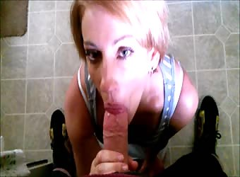 POV blow job and swallowing by cute young lady