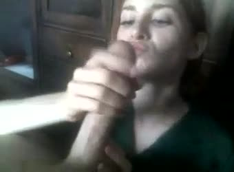 girl stroking my cock - Redhead loves sucking and stroking his big cock