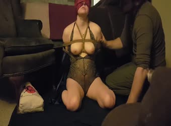 Kinky girlfriend gets all tied up for sex