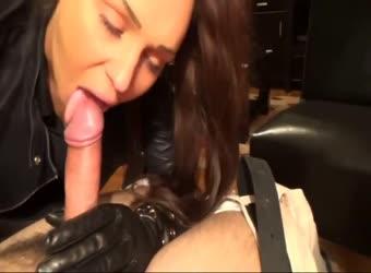 Leather mistress tongue flicking blowjob