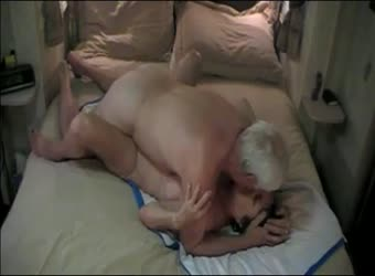 Senior mature couple fucking at home