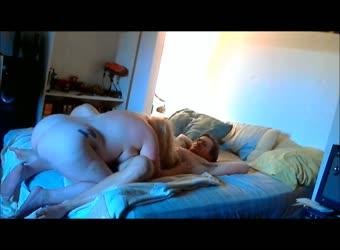 Dominant cougar BBW makes younger guy premature cum