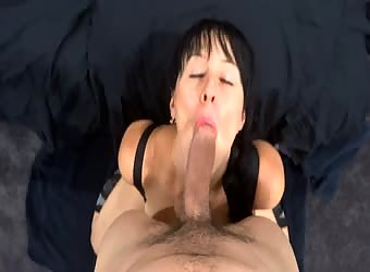 Slut gives blowjob and is drowned in cum facial
