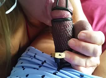 Wife unlocks my caged cuckold cock to make me cum