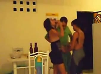 Latinas MFF kitchen threesome