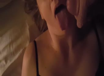 Melanie takes cum in mouth