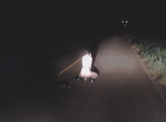 Exhibitionist slut bates in the middle of a dark scary road