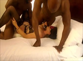 Hot wife being used by 3 black bulls