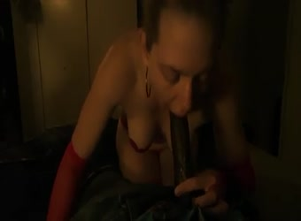 Cucklold wife gags on black cum