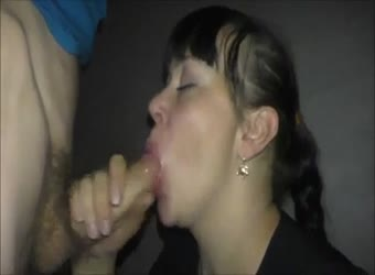 Wife sucking and swallowing a younger stranger