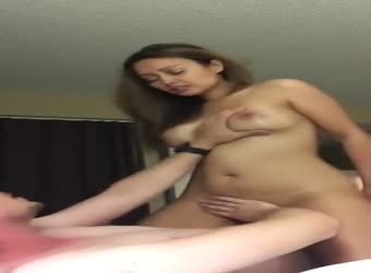 Hot girl with the best boobs riding it