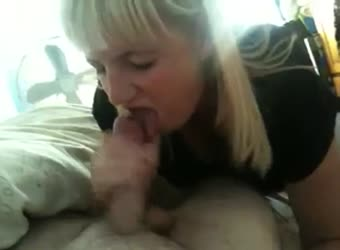 Busty blonde blowjob