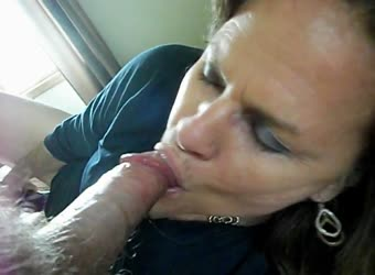 Mature sucking my cock and playing