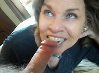 Mature sucking my cock