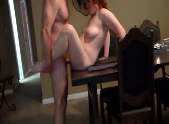 Hot meaty redhead fucked in bed and dining table 02