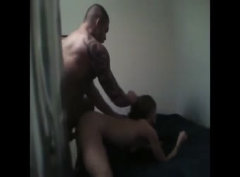 Muscled stud bends over new girl and pounds her hard