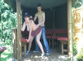 Naughty teen couple fuck in parents backyard gazebo