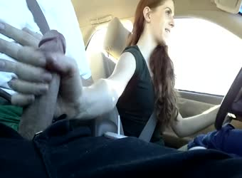 Risky driving handjob and cum in mouth