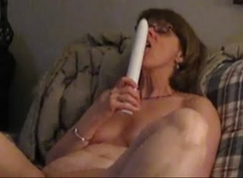 Mrs C using a big vibrator