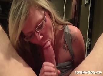 Blond MILF Sucking Friends Big Fat Cock