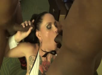 Gothic wife servicing 2 black cocks
