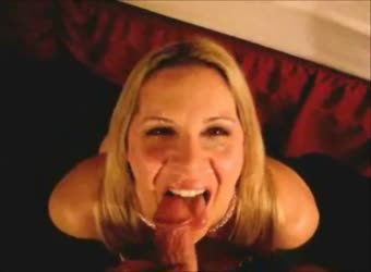 Sexy blonde mom gets a big facial and laughs