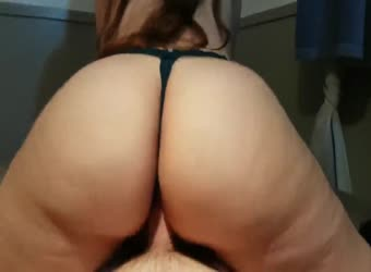 Big ass in thong fucking and cumming on her