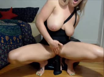 Hot girl moaning and squirting on big black dildo