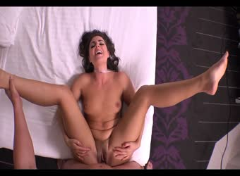 Sexy brunette getting fucked in the pussy and ass