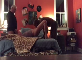 Senior hubby gives his trophy wife to a black bull