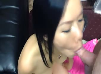 Asian co-worker sucking a cock