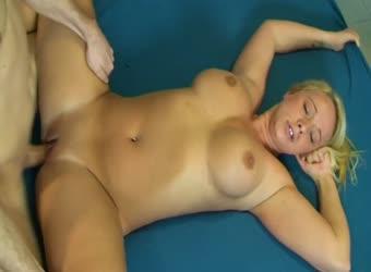 Hot busty blonde filmed in her first sex video
