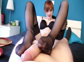 Sexy pale skinned girl puts on stockings for fuck and footjob