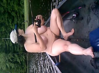 Slut wife fishing nude in public campground 2 of 3