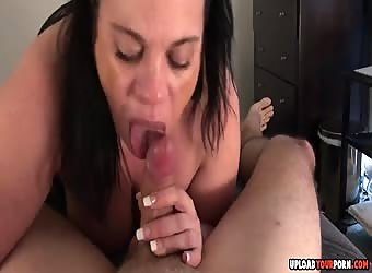 Busty Brunette Girl Blows A Hard Dick