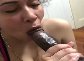 Busty babe gives great head to black guy