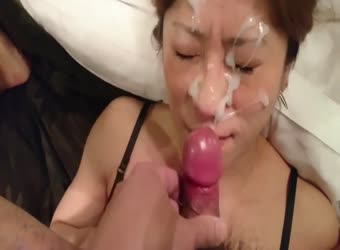 Asian cock gives massive facial