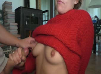 Fucking her and jizzing on her sexy red knit sweater
