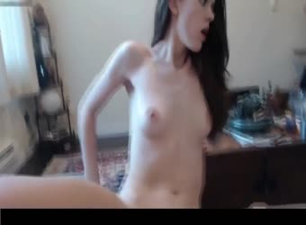Tiny brunette sucks and rides to creampie