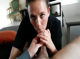 Chubby wife swallows uncut cut