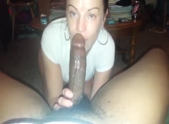 Sucking and riding a giant black cock