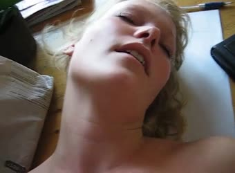 Blonde milf tight pussy fucked on a desk