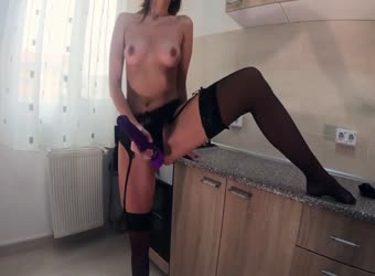 Having intense orgasm in black lingerie