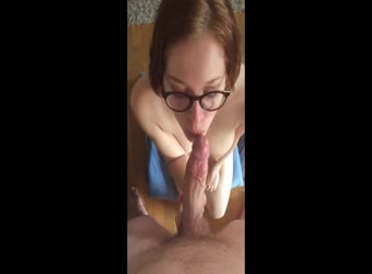 Busty Nerd Loves Tasting His Cock