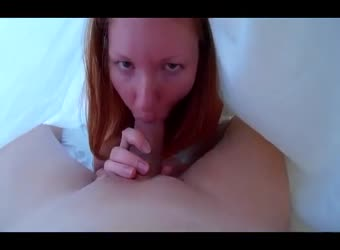 Ginger Gives Under The Sheets Blowjob